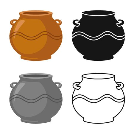 Vector illustration of pot and ceramic . Graphic of pot and brown stock symbol for web.