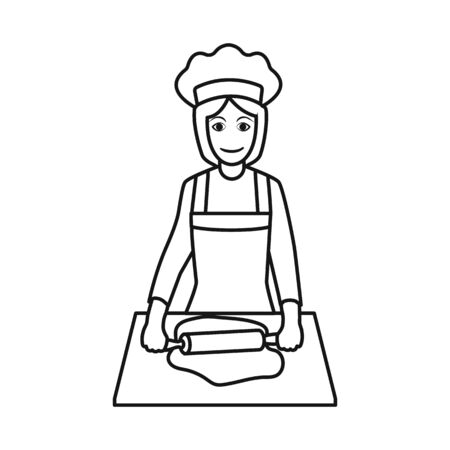 Vector design of chef and dough  . Collection of chef and woman stock vector illustration.