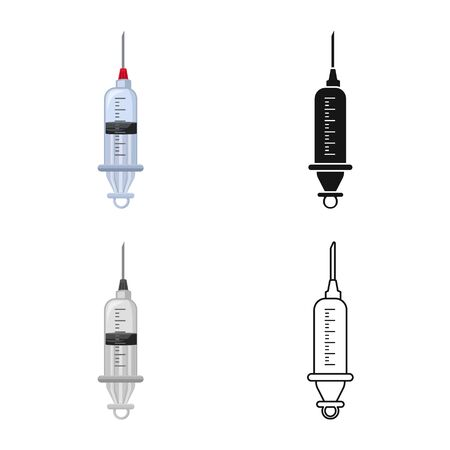 Isolated object of syringe and needle symbol. Web element of syringe and antibiotic vector icon for stock.