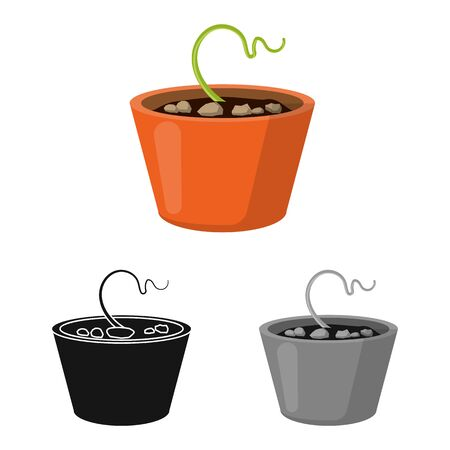 Isolated object of pot and sprout symbol. Graphic of pot and plant stock symbol for web.