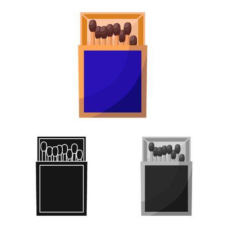 Vector design of matchbox and box symbol. Web element of matchbox and equipment stock vector illustration.