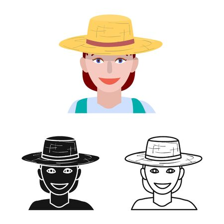 Vector design of farmer and woman logo. Set of farmer and rural vector icon for stock.