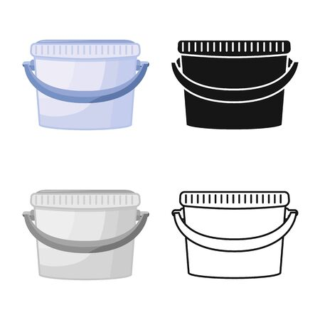 Vector illustration of bucketful and housework icon. Collection of bucketful and equipment vector icon for stock.
