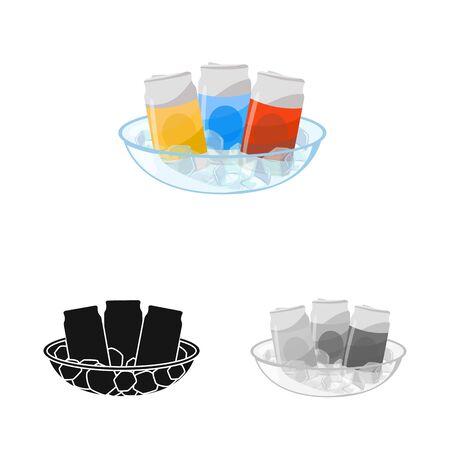 Vector illustration of bottle and soda symbol. Set of bottle and aluminum stock vector illustration.