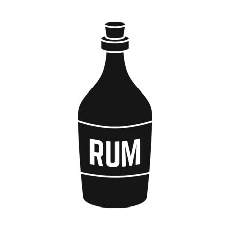 Isolated object of rum and bottle . Web element of rum and alcohol stock symbol for web.