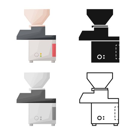Isolated object of mincer and machine icon. Graphic of mincer and mixer vector icon for stock. Illusztráció
