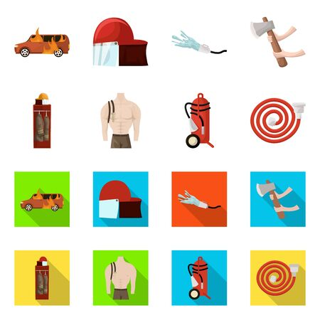 Isolated object of firefighters and fire sign. Collection of firefighters and equipment stock vector illustration.