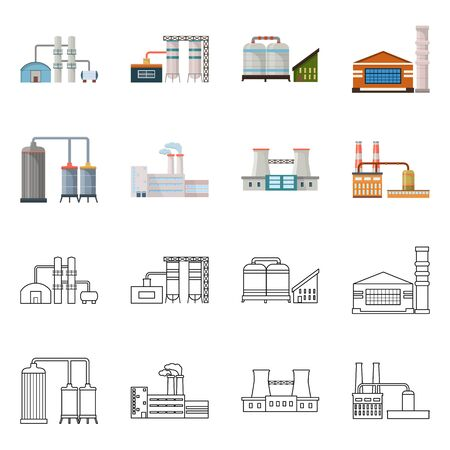 Vector illustration of factory and industry symbol. Collection of factory and construction stock symbol for web.