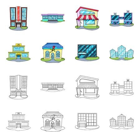 Vector illustration of supermarket and building logo. Collection of supermarket and local stock symbol for web.