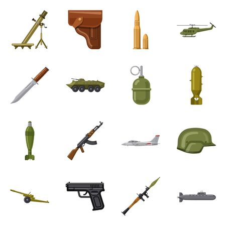 Vector illustration of weapon and gun sign. Set of weapon and army stock symbol for web. Ilustração