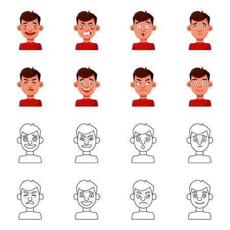 Vector design of face and boy symbol. Set of face and human stock symbol for web.