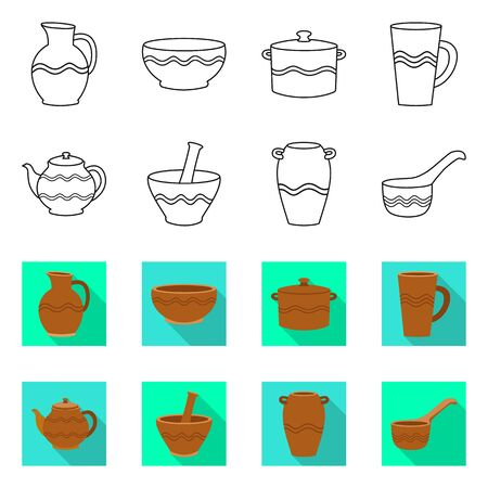 Isolated object of pottery and ware icon. Set of pottery and clayware vector icon for stock.  イラスト・ベクター素材