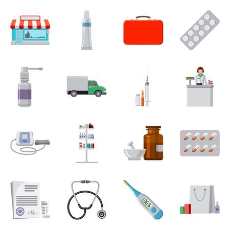 Vector illustration of pharmacy and hospital symbol. Collection of pharmacy and business vector icon for stock. Stok Fotoğraf - 133449692