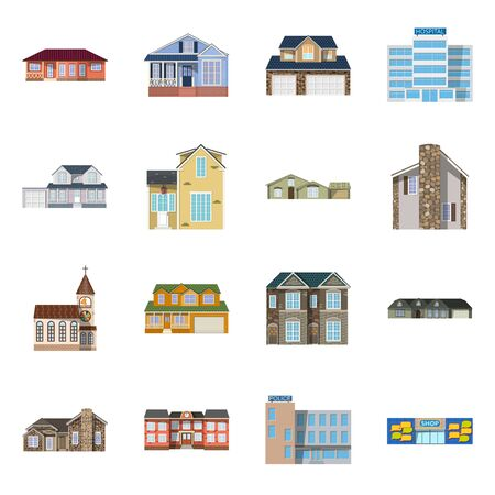 Isolated object of building and front symbol. Set of building and roof vector icon for stock. Illustration
