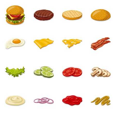 Isolated object of burger and sandwich symbol. Collection of burger and slice stock vector illustration. Stock Illustratie