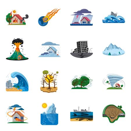 Vector illustration of natural and disaster logo. Set of natural and risk stock vector illustration.