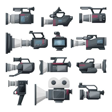 Video camera cartoon vector illustration on white background .Video camera set icons. Vector illustration camcorder for photo and film.
