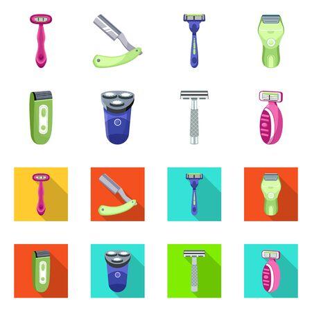 Vector illustration of shaving and hygiene sign. Set of shaving and bathroom stock symbol for web. Archivio Fotografico - 133478092