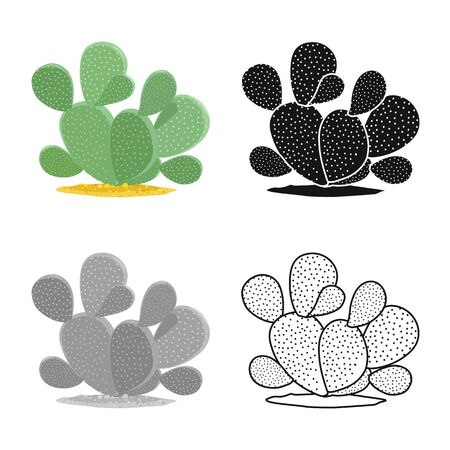 Isolated object of cactus and succulent symbol. Web element of cactus and green stock symbol for web. Çizim