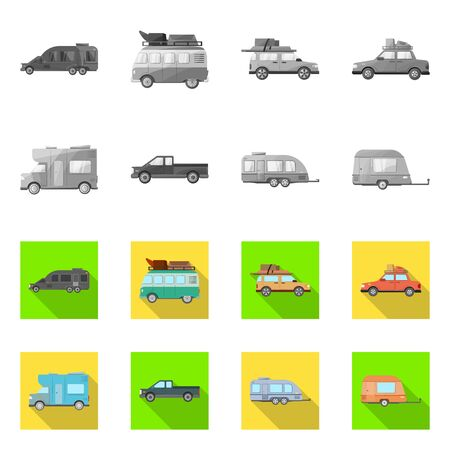 Vector illustration of auto and journey sign. Set of auto and trailering stock vector illustration. Illustration