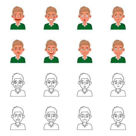 Isolated object of face and boy sign. Collection of face and expression stock vector illustration. Çizim