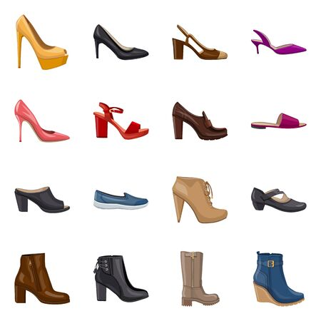 Vector illustration of footwear and woman icon. Set of footwear and foot vector icon for stock. Ilustrace