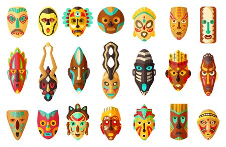African mask cartoon set icon.tribal African mask cartoon vector illustration on white background .Vector illustration set icon face voodoo. Illusztráció