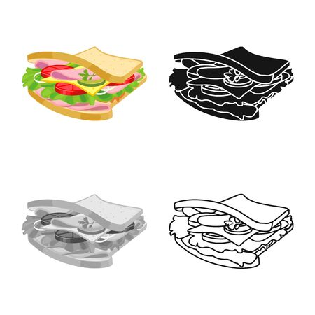Vector illustration of burger and bread logo. Graphic of burger and ham stock symbol for web.
