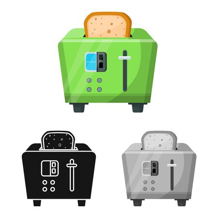 Vector design of toaster and toast logo. Graphic of toaster and menu stock vector illustration.