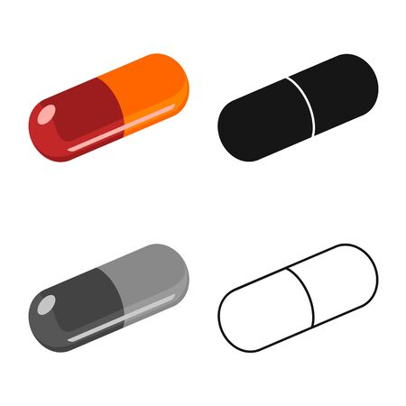 Vector design of capsule and drug icon. Graphic of capsule and medicine vector icon for stock.