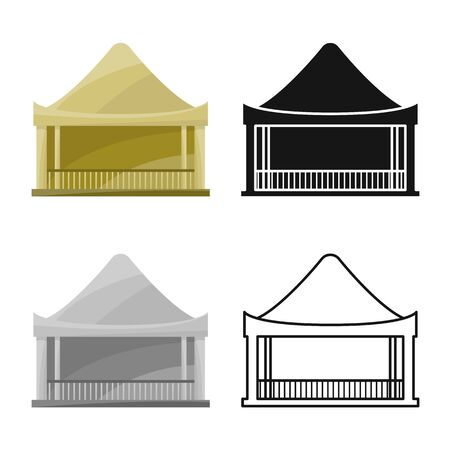 Vector design of stilts and wood logo. Collection of stilts and patio stock vector illustration.