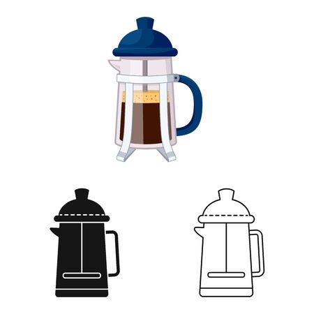 Vector illustration of teapot and coffee icon. Collection of teapot and kitchen vector icon for stock. 일러스트