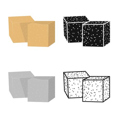 Vector illustration of cube and sugar icon. Web element of cube and brown vector icon for stock.