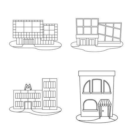 Isolated object of supermarket and building symbol. Set of supermarket and city stock symbol for web. Ilustrace