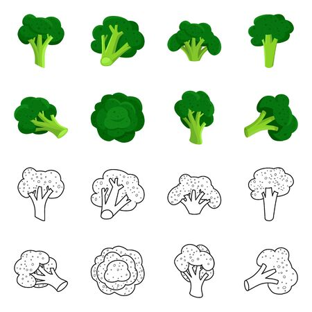 Vector illustration of eating and diet symbol. Set of eating and vegetarian stock symbol for web.