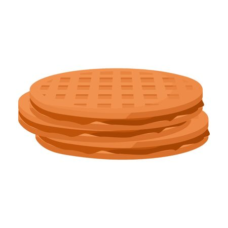 Belgian waffle vector icon.Cartoon vector icon isolated on white background belgian waffle . 矢量图像