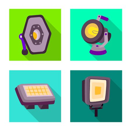 Vector design of light and theater icon. Set of light and scene vector icon for stock.