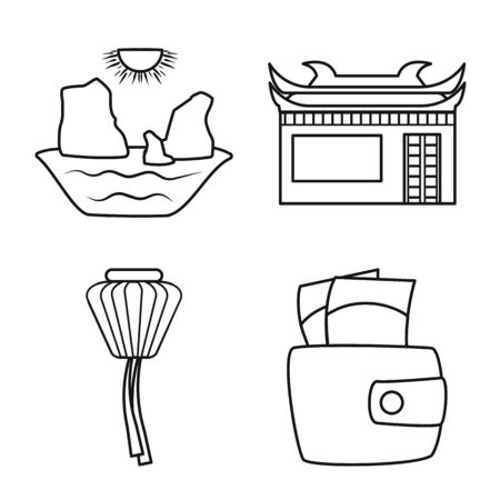Isolated object of vietnam and traditional symbol. Collection of vietnam and culture vector icon for stock. Çizim