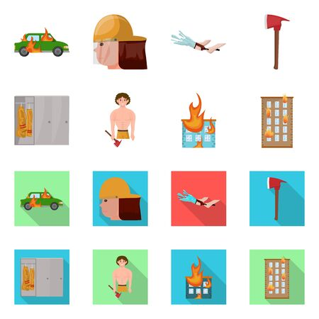Isolated object of firefighters and fire logo. Collection of firefighters and rescue vector icon for stock.