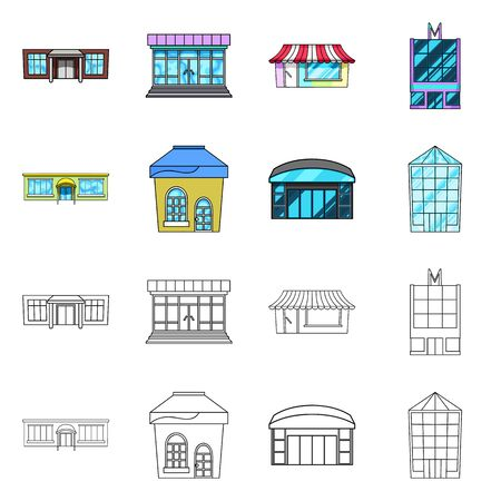 Vector design of supermarket and building icon. Collection of supermarket and local stock symbol for web. Ilustrace