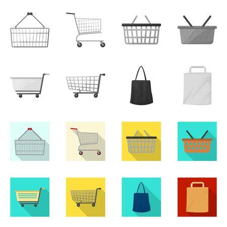 Vector illustration of pushcart and cart logo. Collection of pushcart and market stock vector illustration.