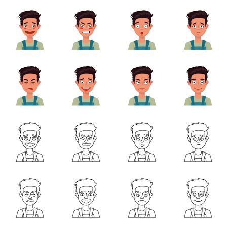 Isolated object of face and boy sign. Set of face and expression stock vector illustration.