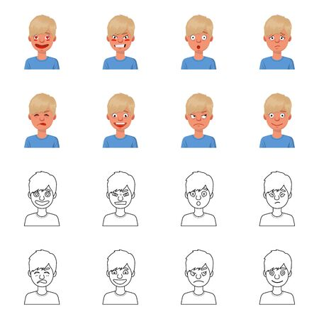 Vector design of face and boy sign. Collection of face and young vector icon for stock.