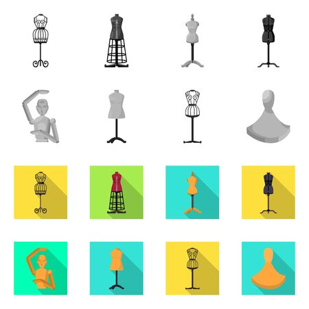 Disegno vettoriale di manichino e simbolo della moda. Insieme di simbolo di borsa manichino e atelier per il web.