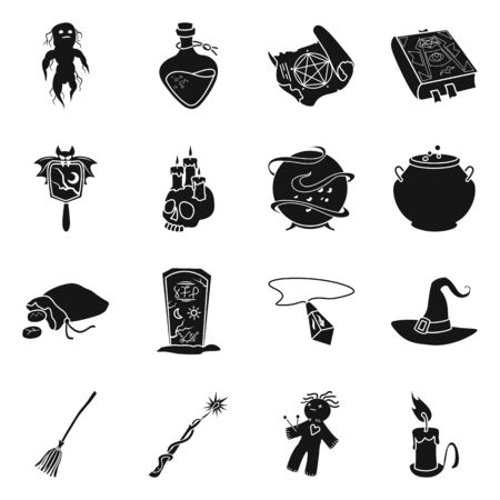 Vector design of witchcraft and magic sign. Set of witchcraft and halloween vector icon for stock. Stock Illustratie