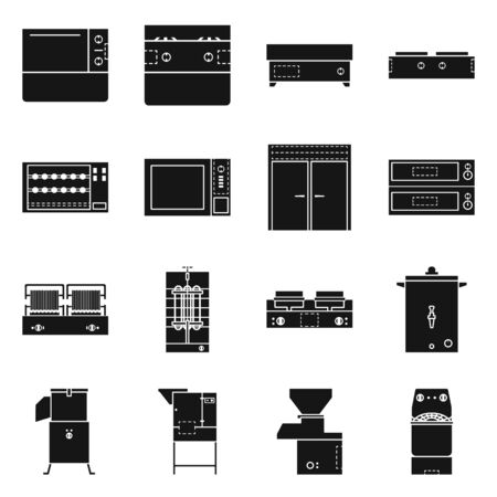 Isolated object of furniture and machine icon. Set of furniture and kitchen stock vector illustration.