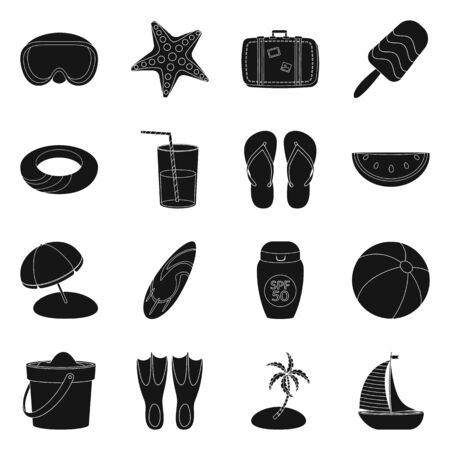Isolated object of equipment and swimming icon. Set of equipment and activity stock symbol for web.