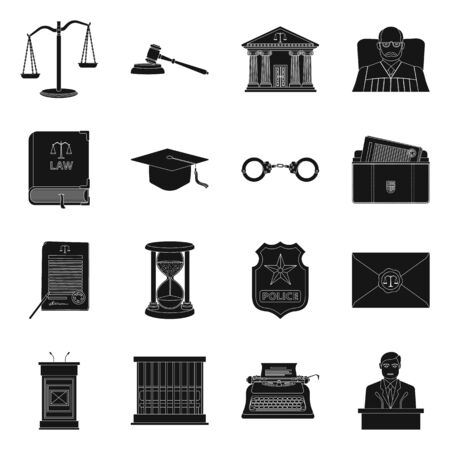 Vector illustration of law and lawyer icon. Set of law and justice vector icon for stock.