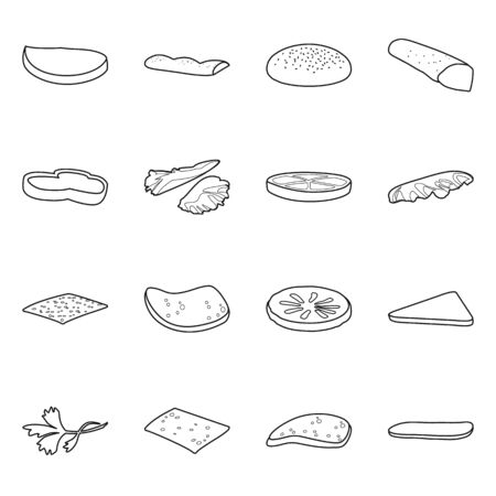 Isolated object of food and burger icon. Set of food and snack stock vector illustration. 向量圖像