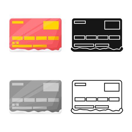 Disegno vettoriale dell'icona di carta e debito. Grafica del simbolo azionario di carta e cocaina per il web.